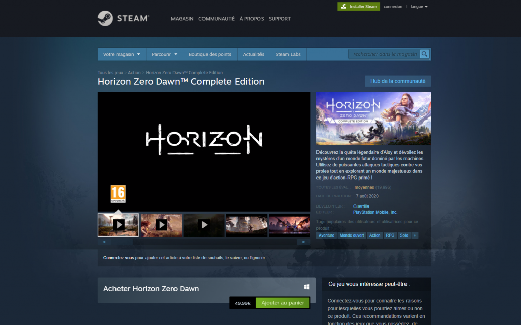 horizon zero dawn sur steam