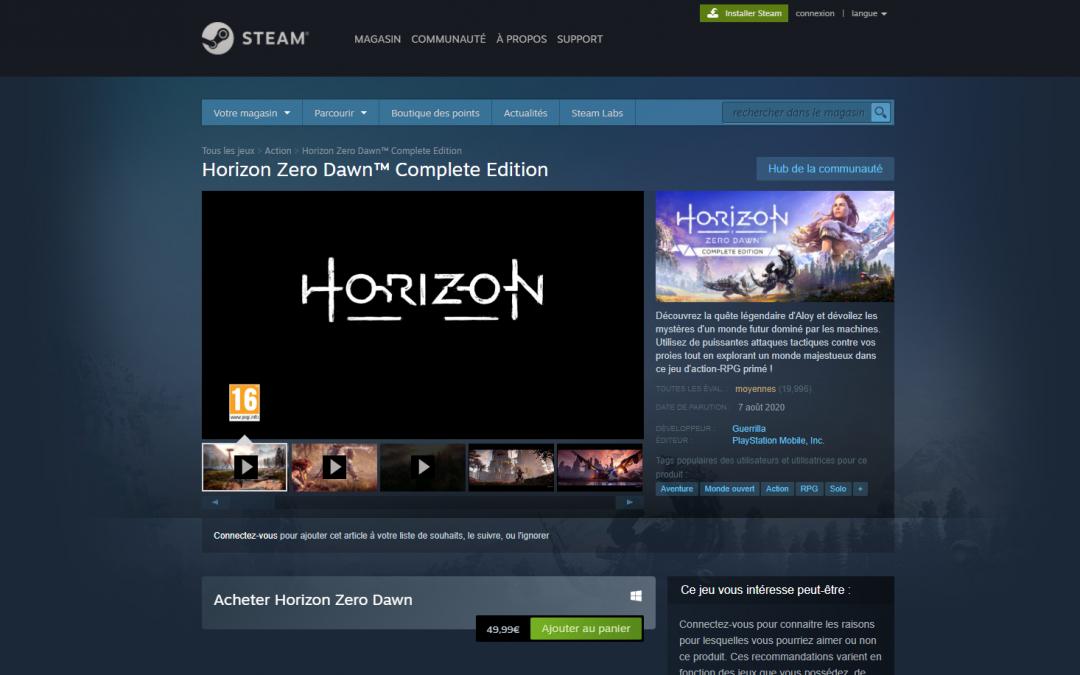 Horizon Zero Dawn, disponible sur Steam et Epic Game Store